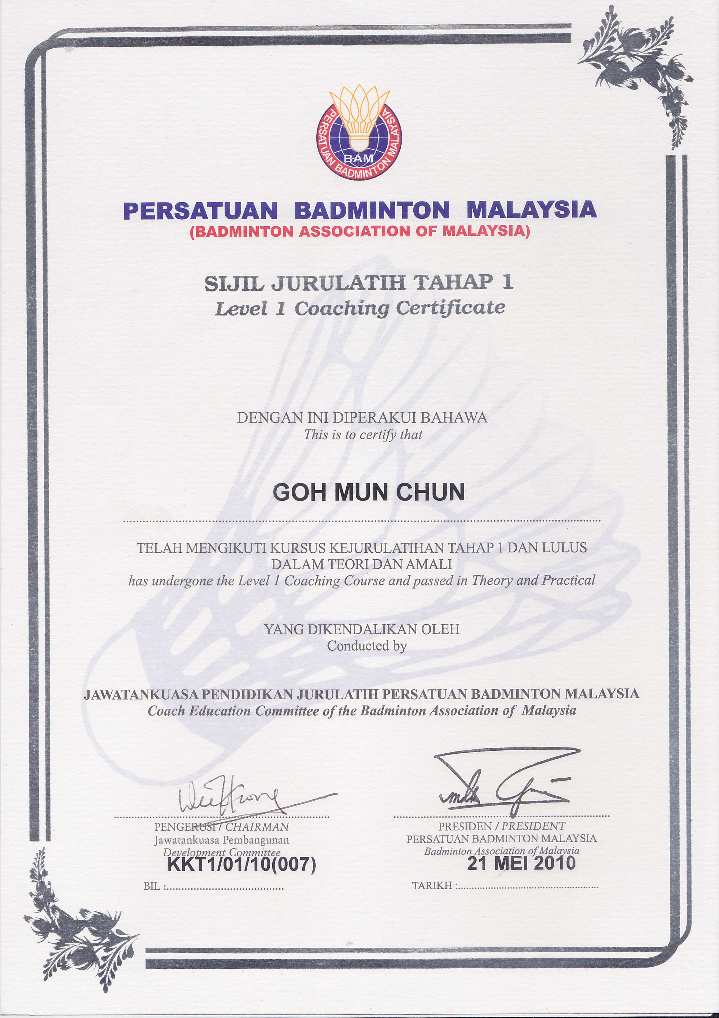 Yap twins sport management ytsm malaysias premier badminton certification bam certificate level 1 coaching course theory and practicle xflitez Choice Image
