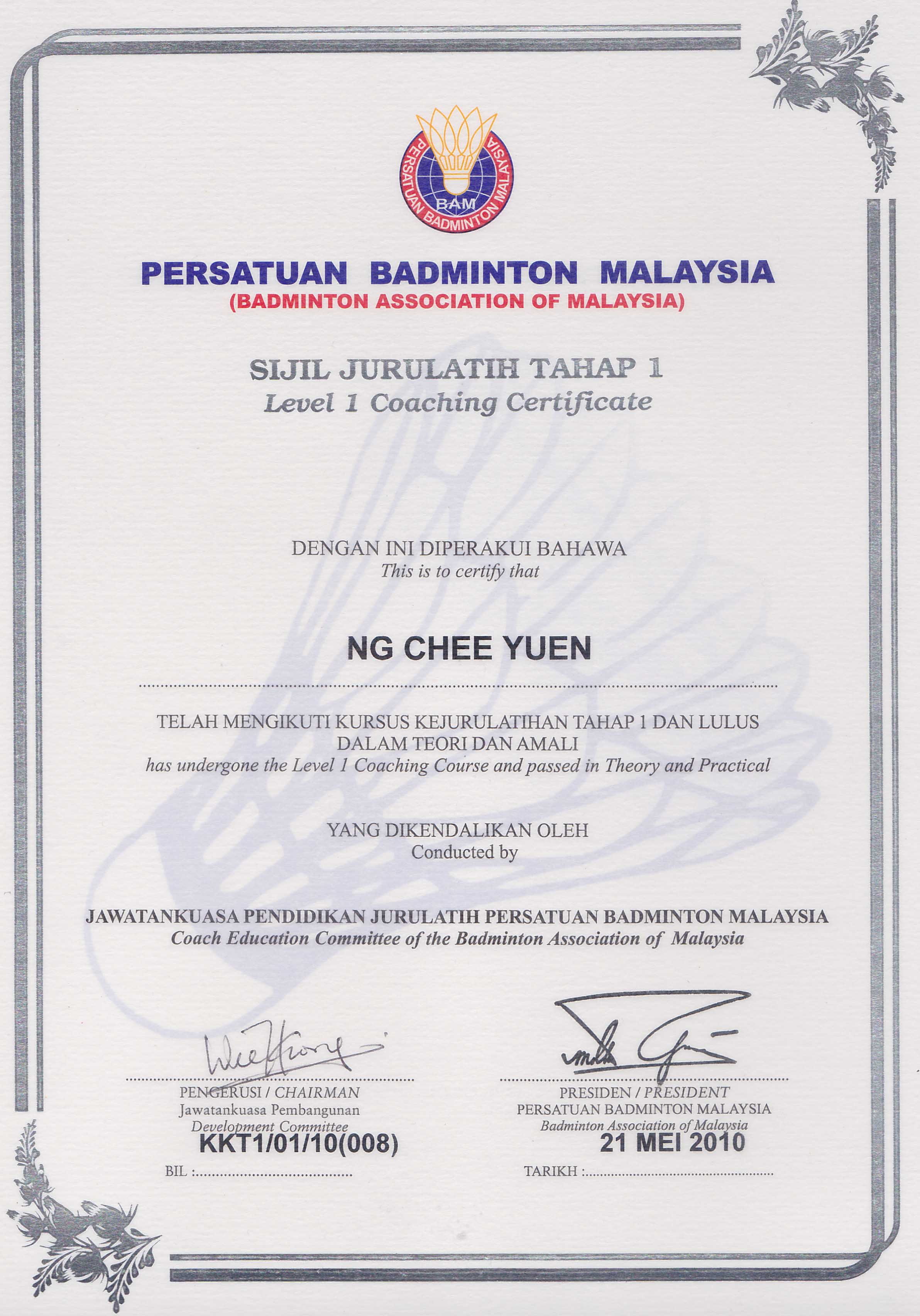 Yap twins sport management ytsm malaysias premier badminton certification bam certificate level 1 coaching course theory and practicle xflitez Images